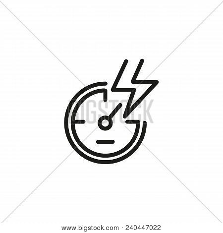 Icon Of Speedometer With Lightning. Car, Display, Horsepower. Automobile Industry Concept. Can Be Us