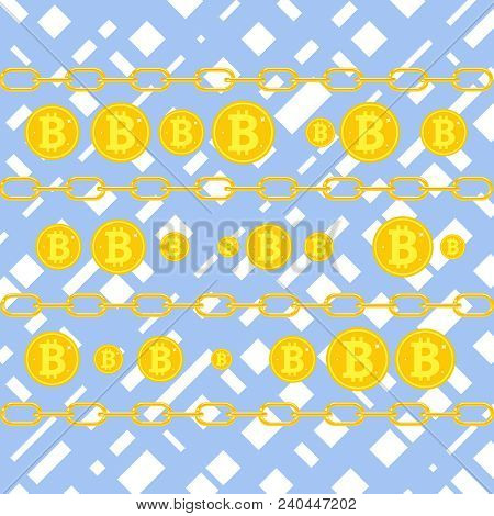 Bitcoin, The Concept Of Earning Bitcoins. Coins Bitcoin On A Blue Background. Flat Design, Vector Il