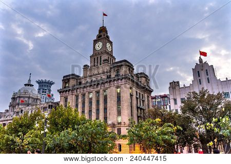 Bund City Bluilding Bund Buildings Evening Shanghai China  One Of The Most Famous Places In Shanghai