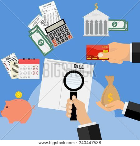 Payment Of Receipts, Payment Of Bills. The Concept Of Paying Bills. Flat Design, Vector Illustration