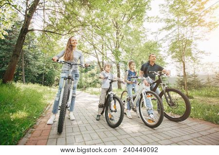 Parents And Children On The Bike Walk In The Park