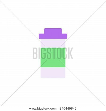 Medical Drug Flat Icon, Vector Sign, Colorful Pictogram Isolated On White. Aspirin Bottle Symbol, Lo