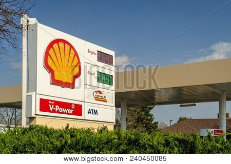 Fort Collins, CO, USA - April 30, 2018: Shell gas station displaying current gas prices.