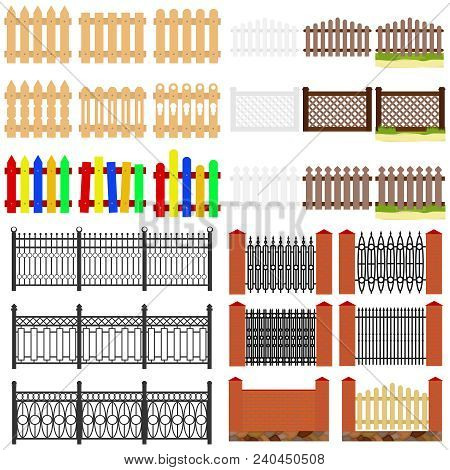 Fence, Wooden And Krypichnye Fences. Fence From Forged Products. Flat Design, Vector Illustration, V