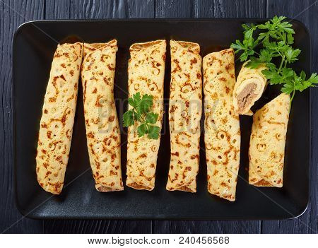 Crepes Stuffed With Chicken And Cheese Plate