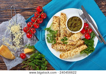 Crepes Stuffed With Chicken Meat On Plate