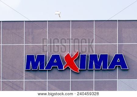 Vilnius, Lithuania- April 12, 2018: Maxima Store Logo. Maxima Is A Retail Chain Operating Food Tores