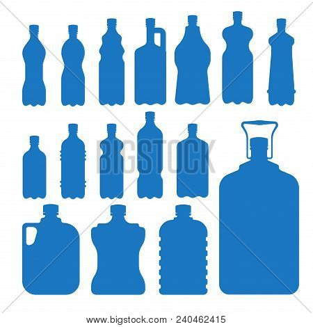 Plastic Water Bottle Vector Blank Nature Blue Silhouette Clean Liquid Aqua Fluid Blank Template Silh