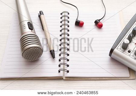 Audio Recording Studio Desk Table. Karaoke Mock Up. Song Lyrics. Microphone, Audio Sound Mixer, Blan