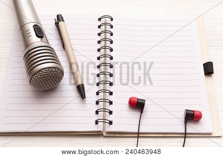 Audio Recording Studio Desk Table. Karaoke Mock Up. Microphone, Headphones And Blank Page Notepad Wi
