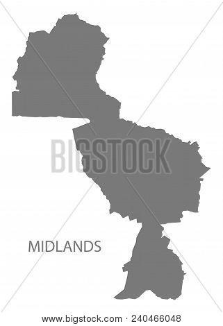 Midlands map of Zimbabwe grey illustration shape poster