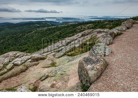 View from Cadillac Mountain in Acadia National Park, Maine.