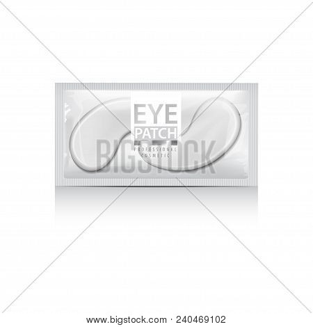 Package of Hydrating Under Eye Gel Patches. Vector illustration of realistic eye gel patches on white background for your design poster