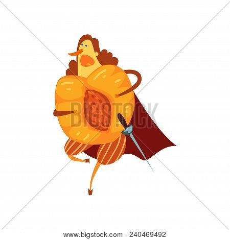 Brave Peach Cartoon Character With Sword, Man In Fruit Costume Vector Illustration Isolated On A Whi