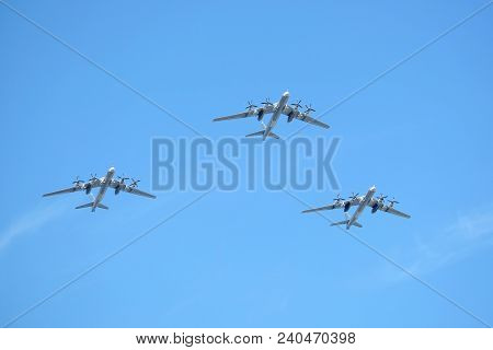 Moscow, Russia - May 9, 2018: Three Russian Military Turboprop Strategic Bombers-missile Tu-95 Bear