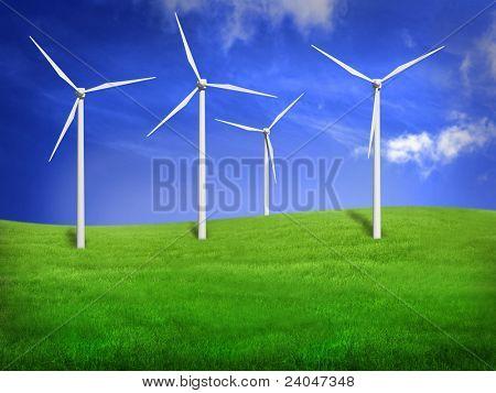 Wind turbines in an open field