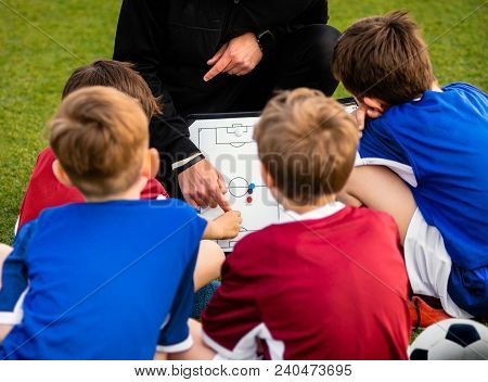 Children Football Team With Coach At The Soccer Field. Kids Coach Explaining The Tactics Board. Boys