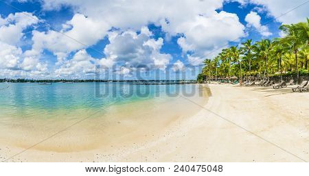 Public Beach At Grand Baie Of Mauritius Island, Africa