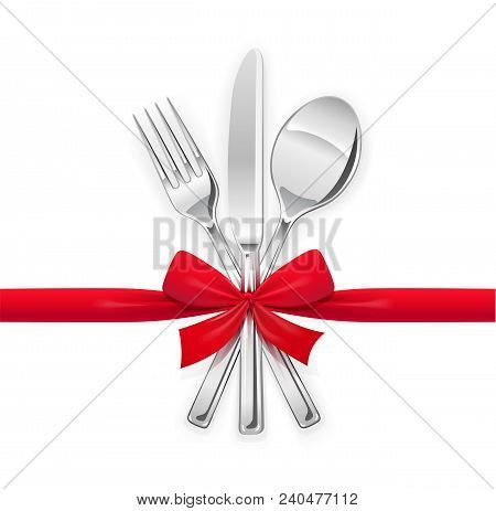 Fork, Spoon, Knife With Red Bow. Set Of Utensils For Eating. Food Dishes. Stainless Tableware. Kitch