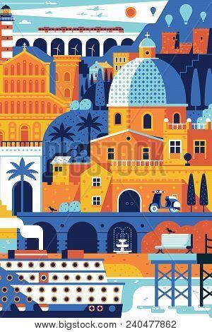 Summer Travel Island Landscape Inspired By Cagliari, Sardinia. Vertical Sea Mediterranean Town Poste