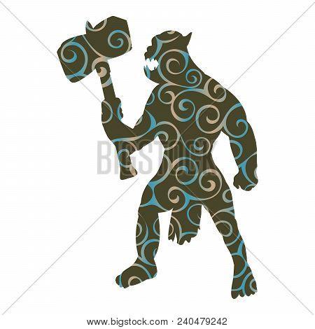Orc Pattern Silhouette Monster Villain Fantasy. Vector Illustration.