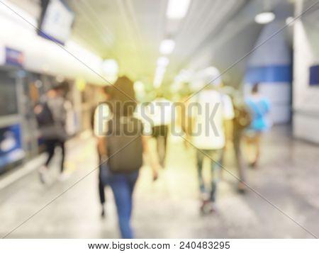 Blurred Image Of City Business Passenger Walk At Subway Station At Intentional Station, Railroad Tra