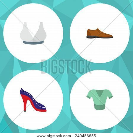 Icon Flat Garment Set Of Man Shoe, Blouse, Sport Bra And Other Vector Objects. Also Includes Blouse,