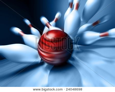 A fun 3d render of a bowling ball crashing into the pins. Extreme perspective, depth of field focus on the ball. poster