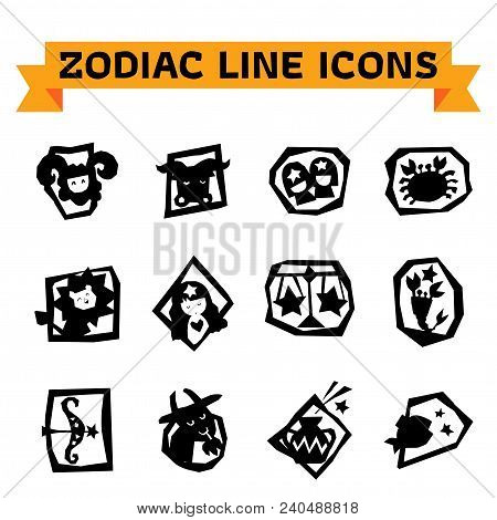 Zodiac Signs In Thin Line Style On White Background. Set Of Modern Vector Plain Line Design Icons An