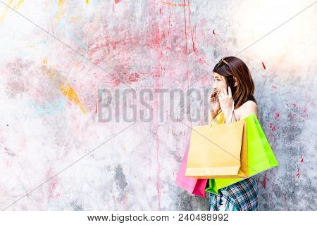 Portrait Charming Beautiful Shopaholic Woman. Attractive Beautiful Woman Look At Copy Space, Act Lik