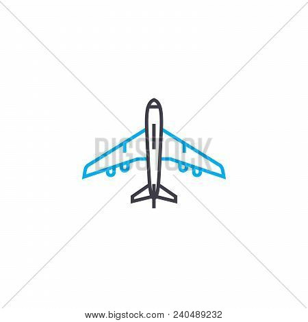 Aircraft Vector Thin Line Stroke Icon. Aircraft Outline Illustration, Linear Sign, Symbol Isolated C