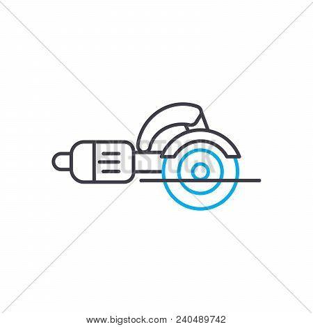 Angle Grinder Vector Thin Line Stroke Icon. Angle Grinder Outline Illustration, Linear Sign, Symbol