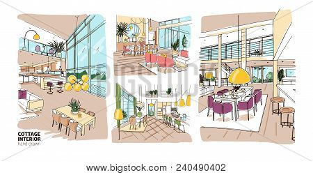 Bundle Of Colorful Drawings Of Summer Cottage Interiors Full Of Stylish And Comfy Furniture. Set Of