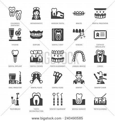 Dentist, Orthodontics Flat Glyph Icons. Dental Equipment, Braces, Tooth Prosthesis, Veneers, Floss,