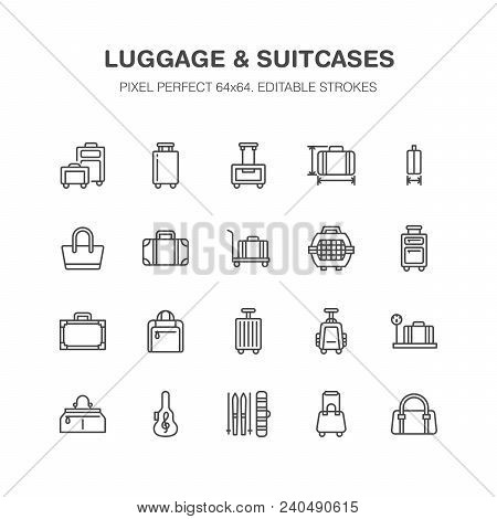 Luggage Blue Flat Line Icons. Carry-on, Hardside Suitcases, Wheeled Bags, Pet Carrier, Travel Backpa