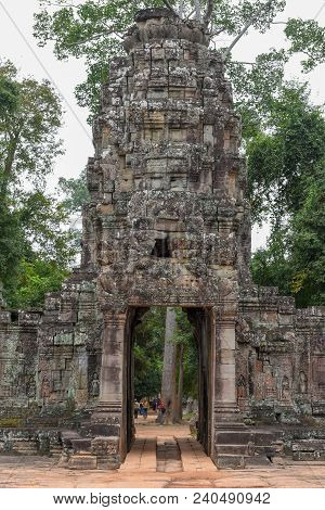 Siem Reap, Cambodia - 11 January 2018: Entrance To Ancient Preah Khan Temple In Angkor. Siem Reap, C