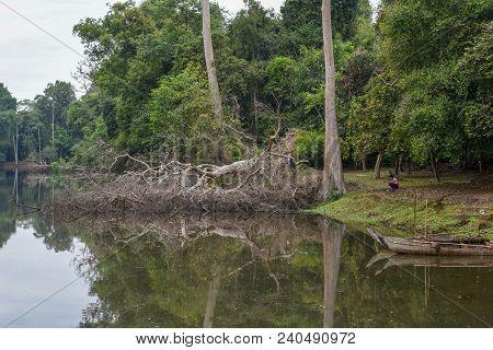 Siem Reap, Cambodia - 11 January 2018: Moat Near Preah Khan Temple At Angkor On Cambodia