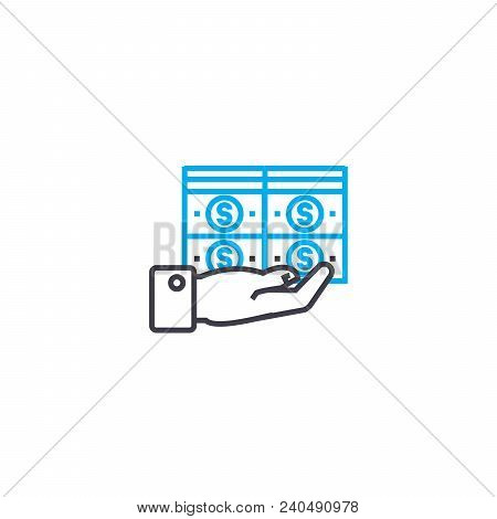 Big Funds Vector Thin Line Stroke Icon. Big Funds Outline Illustration, Linear Sign, Symbol Isolated
