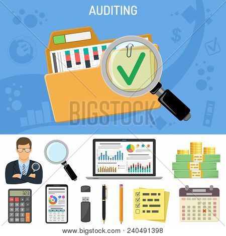 Auditing, Business Accounting Concept. Auditor Holds Magnifying Glass In Hand. Flat Style Icons Fold