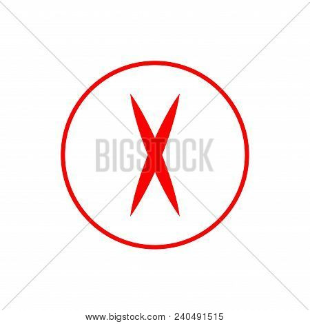 Cross Red Sign. Isolated Mark On White Background. Red Symbol Wrong. Negative Marks. Reject Picture.