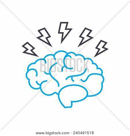Brainstorm Idea Vector Thin Line Stroke Icon. Brainstorm Idea Outline Illustration, Linear Sign, Sym