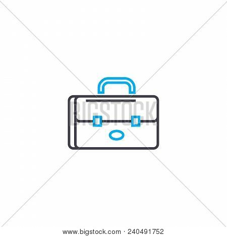 Brief Bag Vector Thin Line Stroke Icon. Brief Bag Outline Illustration, Linear Sign, Symbol Isolated
