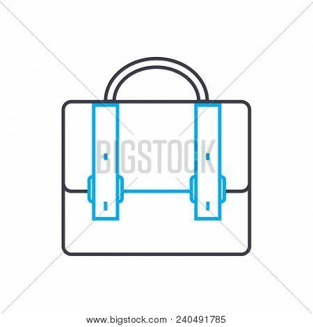 Brief Bag Symbol Vector Thin Line Stroke Icon. Brief Bag Symbol Outline Illustration, Linear Sign, S