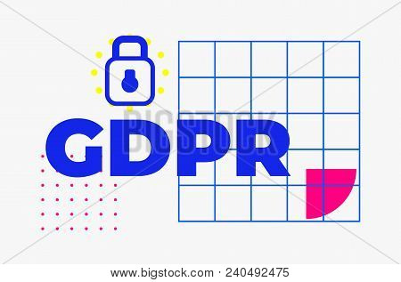 Gdpr - General Data Protection Regulation. Abstract Minimal Geometric Web Banner Design, Colorful Pa