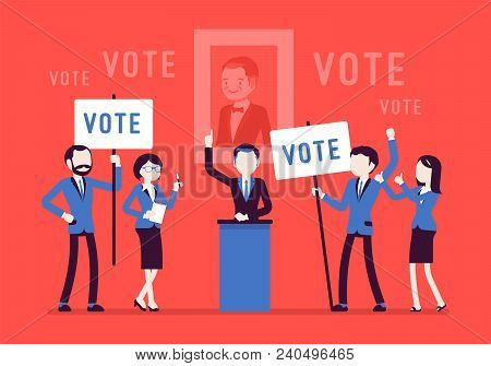 Election Campaign Voting. Politician, Party Candidate In Excited Speech Persuades To Vote For Him, A
