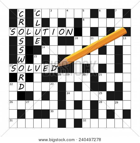 A Vector Crossword Grid Part Completed With The Words Crossword, Clue, Solution And Solved Together