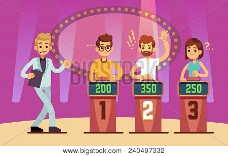 Clever Young People Playing Quiz Game Show. Cartoon Vector Illustration. Tv Competition People Intel