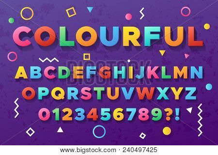 Colourful Bold Alphabet. Urban Old Vivid Color Vector Font. Alphabet And Abc Trendy Typeface, Typogr
