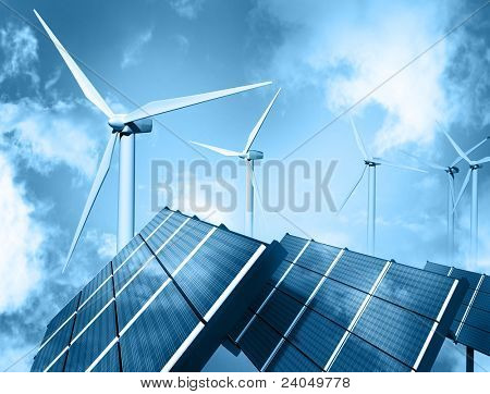 Wind farm and solar panel