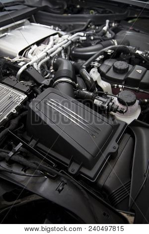Belgrade, Serbia - April 30, 2018: Detail Of Engine Of 2017 Mercedes-amg Gt C Coupe. Amg Gt C Coupe